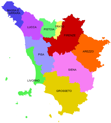 mappa provincie Toscana