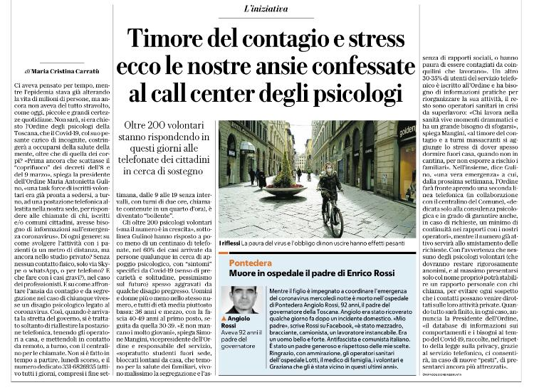 Timore del contagio e stress ecco le nostre ansie confessate al call center degli psicologi - download file